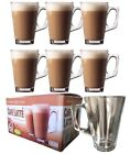 6 / 12 X LATTE GLASSES TEA COFFEE CAPPUCCINO GLASS CUPS HOT DRINK MUGS 240ML