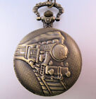 "Train Steam Engine Railroad Pocket Watch w/31"" Necklace Chain or 14"" Belt Chain"