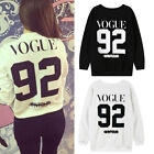 1PC Women Long Sleeve Hoodies Printed VOGUE 92 Letters Cotton O-Neck Casual Tops