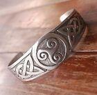 TRISKELE TRISKELION WHEEL CELTIC TRIQUETRA TRINITY DRUID PEWTER Bangle Bracelet