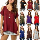 Women Casual Cut Out Cold Shoulder Short Sleeve T Shirt Blou