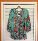 Small Medium Large XL Aqua ANTHROPOLOGIE FIG  FLOWER TUNIC Floral PEASANT TOP
