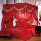 Red 4 Corner Wedding Moquito Bed Net Frame For Queen Californa King Size Curtain