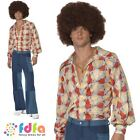 70s Disco Patchwork Denim Look Flares Trousers Adults Mens Fancy Dress Costume