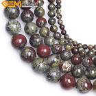 Natural Round  Dark Green Dragon Blood Jasper Stone Beads For Jewelry Making 15""