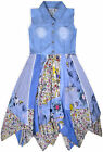 Girls Sleeveless Denim Dress New Kids Jeans Top Cotton Stripe Floral Skirt 3-11Y