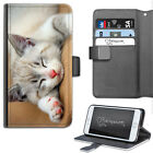 HAIRYWORM PINK NOSE GREY CAT LEATHER WALLET PHONE CASE, FLIP CASE, PHONE COVER