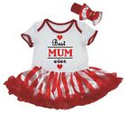 Mother's Day Best Mum Ever White Cotton Bodysuit Red Striped Baby Dress NB-18M
