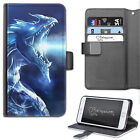 HAIRYWORM FANTASY BLUE ICE DRAGON LEATHER WALLET PHONE CASE, FLIP CASE, COVER
