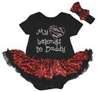 Father's Day My Heart Belongs To Daddy Black Bodysuit Red Lips Baby Dress NB-18M