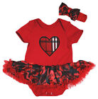 Valentine's Day Plaid Heart Red Cotton Bodysuit Black Rose Baby Dress NB-18M