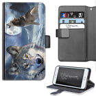 HAIRYWORM ANIMAL TWO WOLF MOON LEATHER WALLET PHONE CASE, FLIP CASE, PHONE CASE