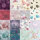Floral Wallpaper Metallic Glitter Flowers Roses Leaves Blooms Blossoms