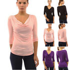 Womens Ladies 3/4 Sleeve Casual Shirts Cowl Neck Blouse  Party Club Tops