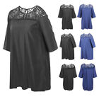 Ladies Lace Floral Neck 3/4 Sleeve Casual Summer Beach Mid-lenght Shirt Dress