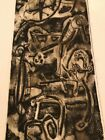 Mid Century 1960 Abstract Signed Woodblock Print Titled Fantasia