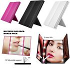 TRI FOLD WITH STAND 8 LED COSMETIC MAKEUP FOLDABLE POCKET TRAVEL MIRROR UK COMP