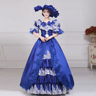 Victorian Medieval Renaissance Costume Dress Part Theater Ball Gown Noble Blue