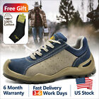 Safetoe Safety Work Shoes Mens Boots Blue Leather Breathable Steel Toe L 7295