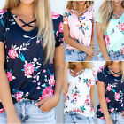 Women Loose Short Sleeve Cotton Casual Blouse Shirt Tops Floral Summer T-shirts