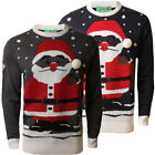 Mens Christmas Santa Pom Pom Novelty Knitted Jumper X-Mas Winter Knitwear Size