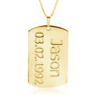 PERSONALIZED 24K Gold Plated DOG TAG NECKLACE, CUSTOM DOG TAGS, with Name & Date