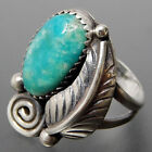 Vintage 925 Silver Filled Turquoise Feather Gypsy Rings Wedding Boho Jewelry