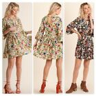 Umgee Ladies Floral Angel-Sleeve Babydoll Dress with Front and Back Keyhole S-M