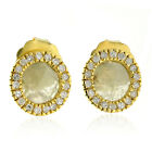 New Fine !! Natural Slice Diamond Yellow Gold Round Stud Earrings FREE SHIPPING