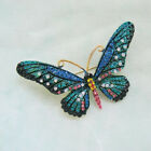 Vintage Animals Large Brooch Lapel Pin Gold Enamel Insects Bird Crystal Jewelry