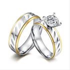 Stainless Steel Silver&Gold Couples Promise Engagement Claw Rings Wedding Gift