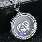 Crystal Floating Round Heart Charms Locket Mom Mother Living Memory Necklace Hot