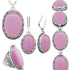 Pink Opal Jewelry Sets Necklace Earrings Ring Double Layer Fashion Jewelry