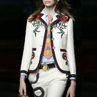 New Fashion Runway  Occident Womens Slim Suit Lapel Embroidery White Jacket Coat