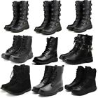 2018 Mens Leather Punk Rock Boots Goth Ankle Mid-Calf Lace-up Biker Buckle Shoes