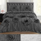 Scarlett Ruched Fancy Floral 3 Piece Duvet and Pillow Sham Set image