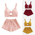 Stylish Women Top+Pants Fashion Holiday Casual Lady Crop Sexy Clothes Shorts set