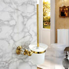 Luxury Wall-Mount Toilet Brush Holder with Frosted Glass Container for Bathroom