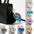 1 PC Heart Shaped Keychain Pendant Key Ring Bags Accessory Sequin Multicolored