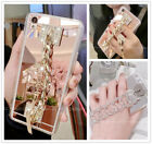 For Samsung Galaxy S9 S8 J7 Mirror image Girly Diamond Bling Chain Bracelet Case Cover