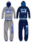 Boys New York Hooded Tracksuit New Kids Sweatshirt Joggers Set Ages 6-16 Years