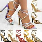 Womens Ladies Barely There High Heel Party Bridal Sandals Ankle Strappy Shoes