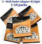 3 Outlet Grounded AC Power Sensor Night Light Wall Tap Adapter UL Listed Beige