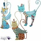 Gisela Graham Fantasy Circus Wooden Cat Wings Christmas Tree Hanging Decoration