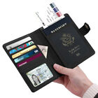 Vegan Leather Passport Holder Case RFID Blocking Travel Wallet Snap Closure