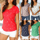 Fashion Women Summer Loose Short Sleeve Star Printed Casual T-Shirt Blouse Tops