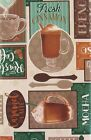 Patchwork Coffee Latte vinyl flannel back tablecloth Green Tan Assorted Sizes