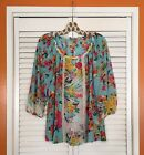 Small Medium Large Blue White Pink Floral ANTHROPOLOGIE FIG FLOWER PEASANT TOP