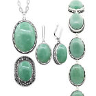 Natural Stone Jade Set Necklace Earrings Ring Bracelet Fashion Jewelry Set