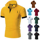 Mens Slim Fit Shirts Solid Short Sleeve Casual Golf T-shirt Tee Tops Jersey
